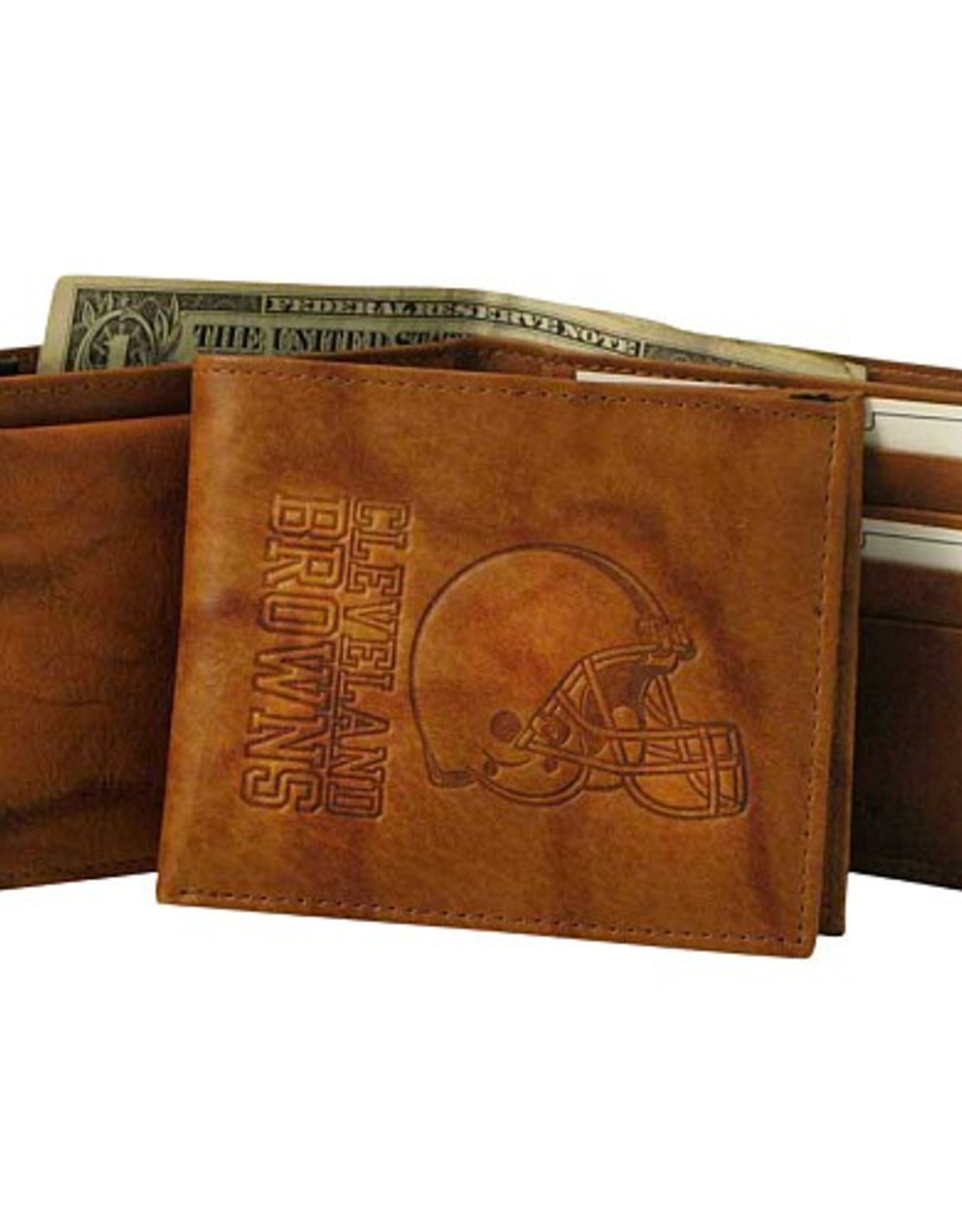 RICO INDUSTRIES Cleveland Browns Genuine Leather Vintage Billfold Wallet