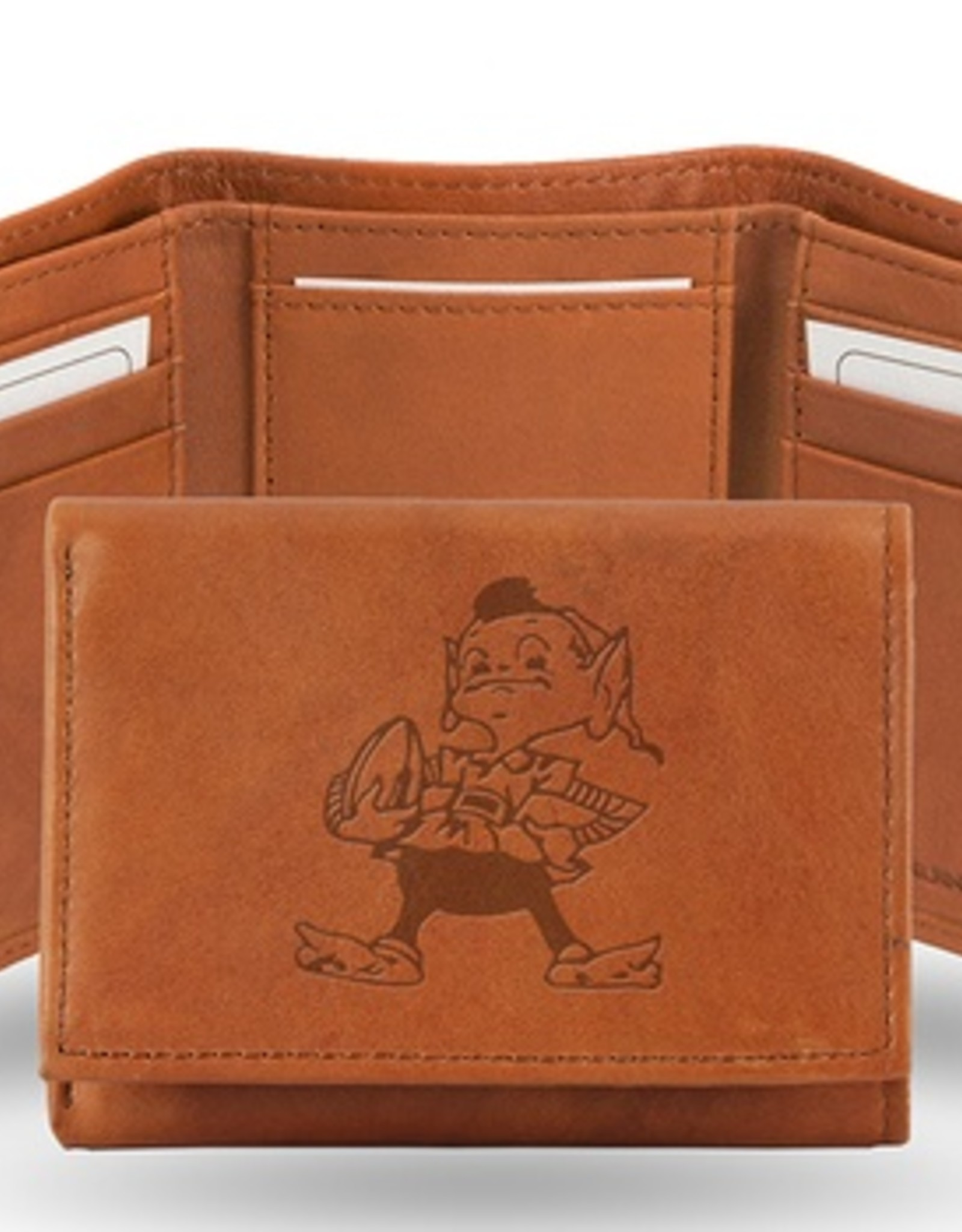 RICO INDUSTRIES Cleveland Browns Genuine Leather Vintage Trifold Wallet
