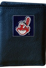 Cleveland Indians Executive Black Leather Trifold Wallet