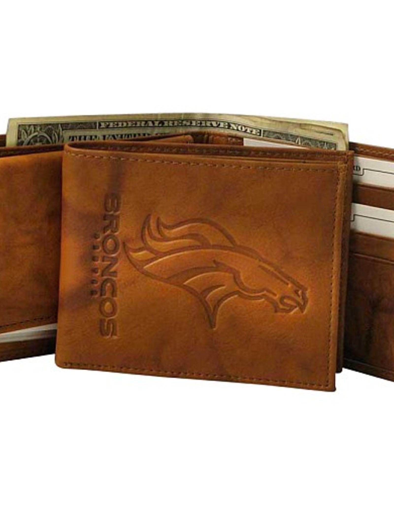 RICO INDUSTRIES Denver Broncos Genuine Leather Vintage Billfold Wallet