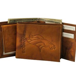 RICO INDUSTRIES Denver Broncos Genuine Leather Vintage Billfold Wallet