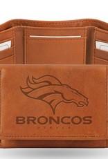RICO INDUSTRIES Denver Broncos Genuine Leather Vintage Trifold Wallet