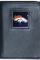 SISKIYOU GIFTS Denver Broncos Executive Black Leather Trifold Wallet