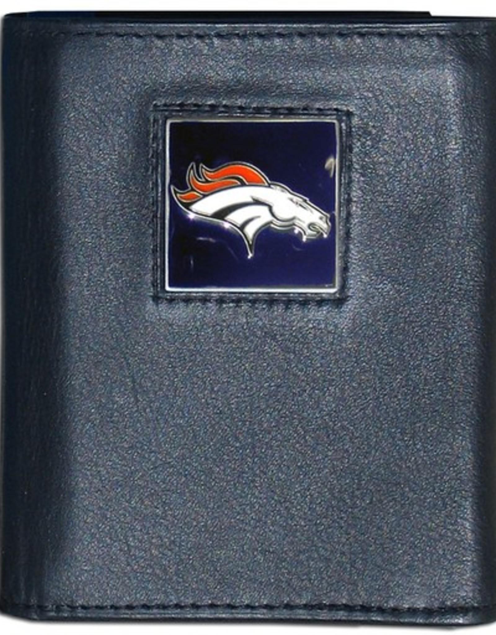 Denver Broncos Executive Black Leather Trifold Wallet