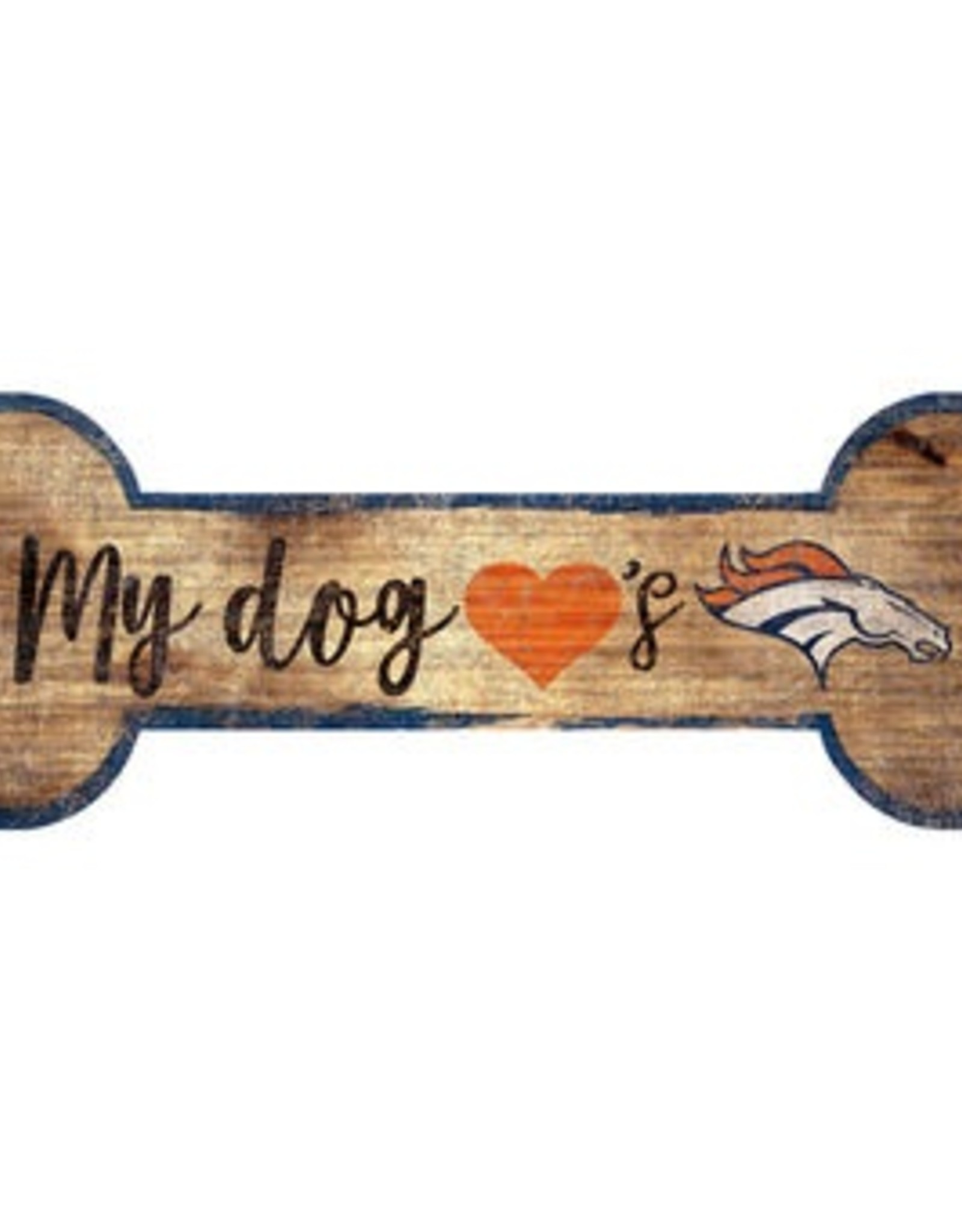 FAN CREATIONS Denver Broncos Dog Bone Wood Sign