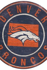 FAN CREATIONS Denver Broncos Round State Sign
