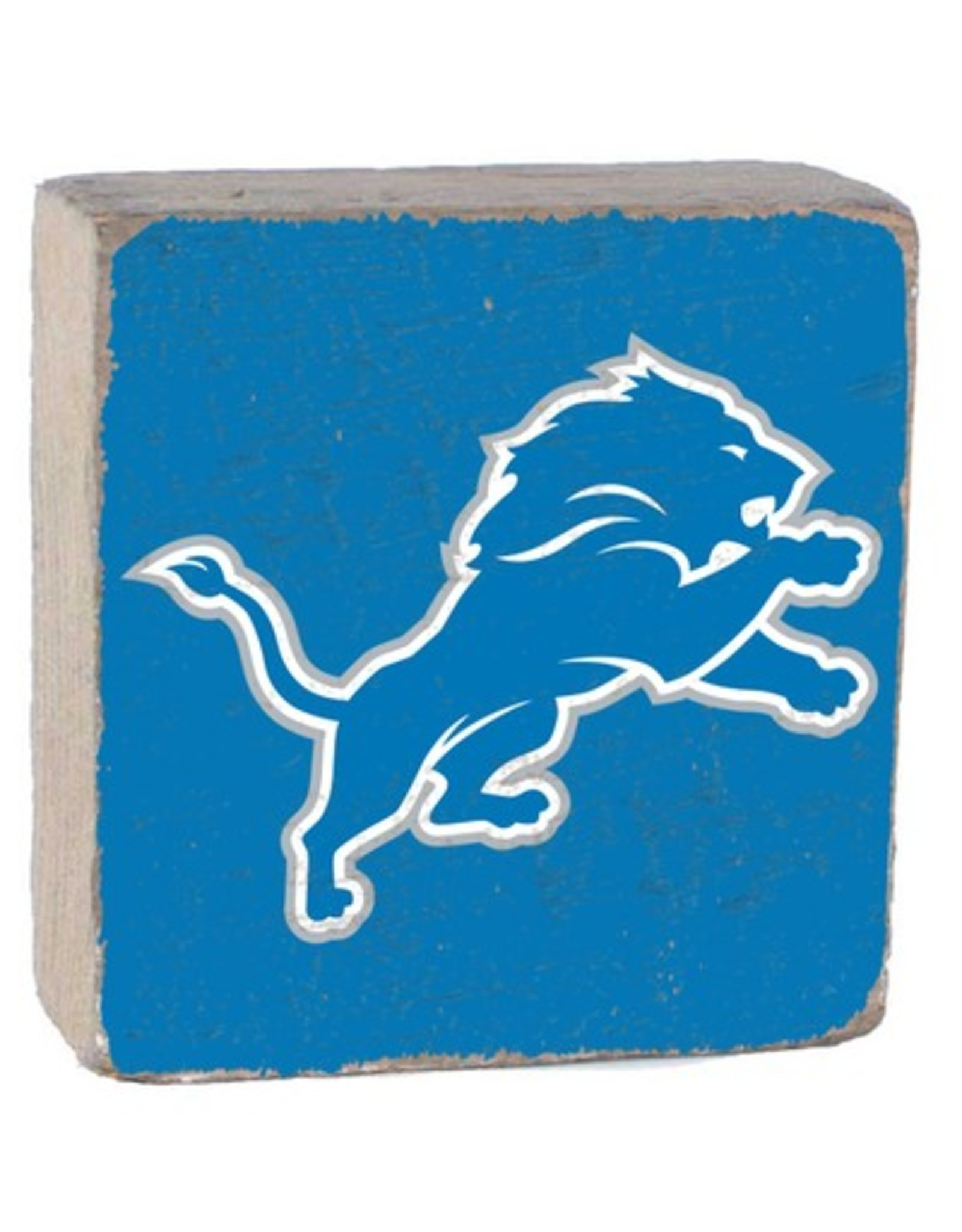 RUSTIC MARLIN Detriot Lions Rustic Wood Team Block