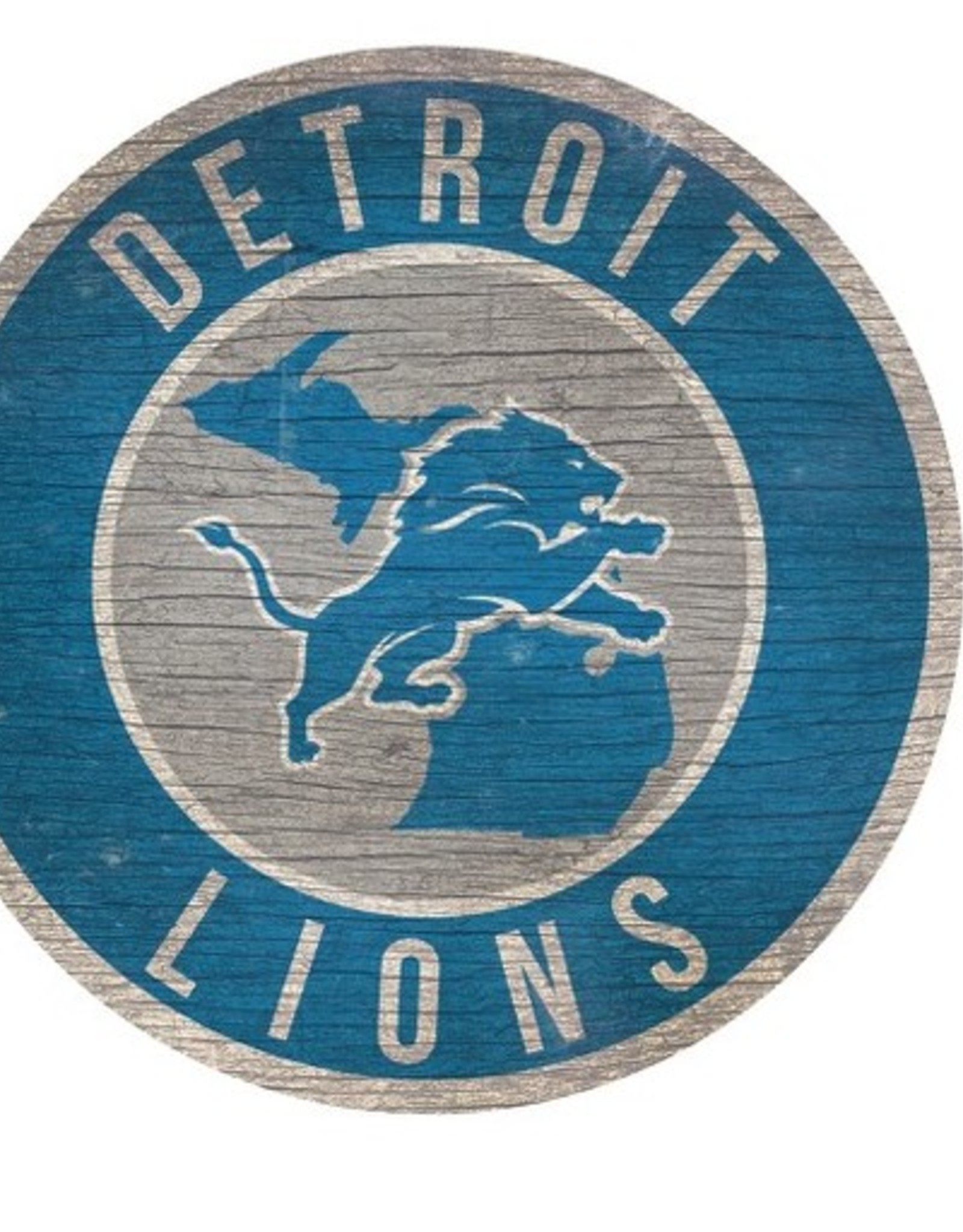 FAN CREATIONS Detriot Lions Round State Sign