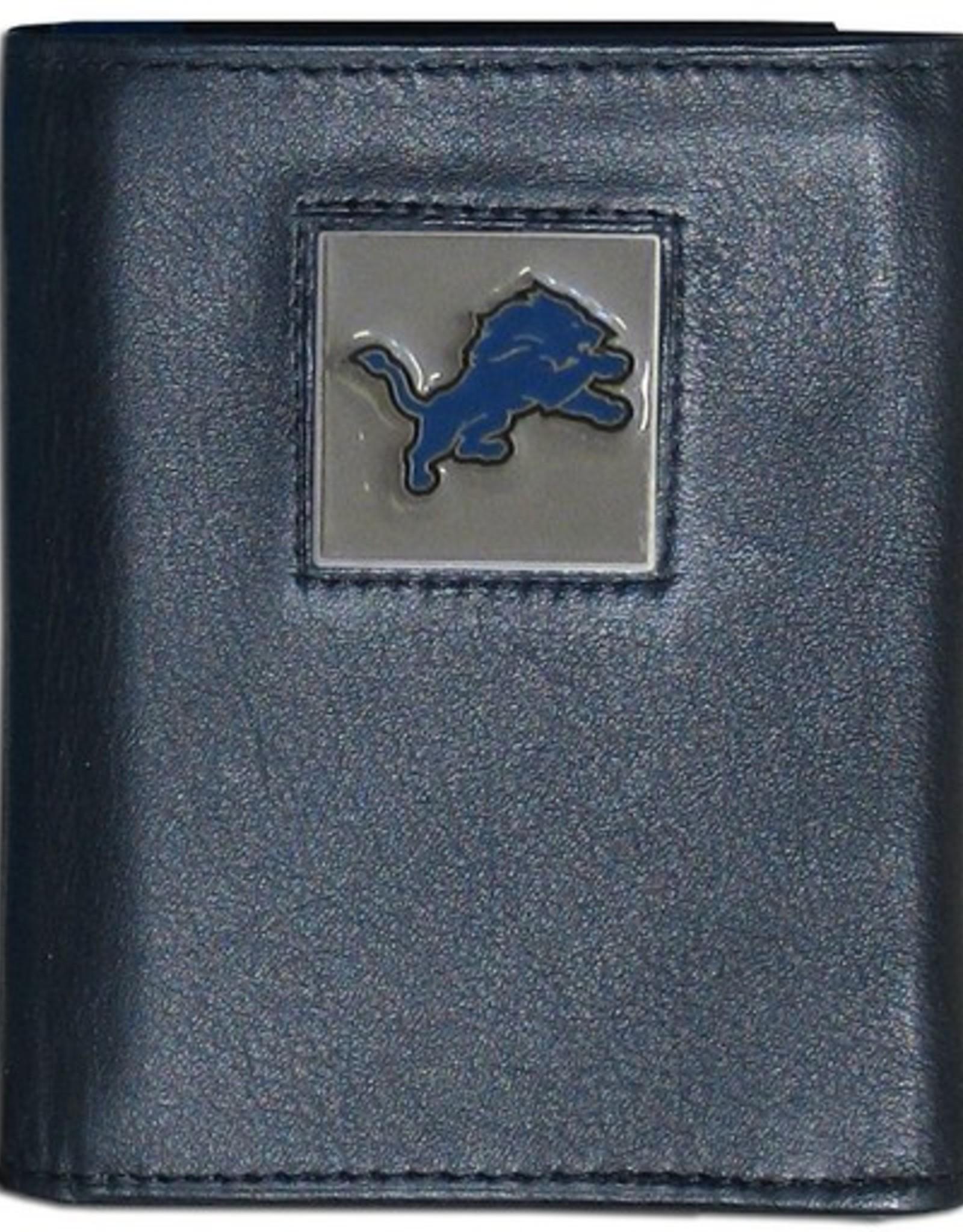 Detriot Lions Executive Black Leather Trifold Wallet