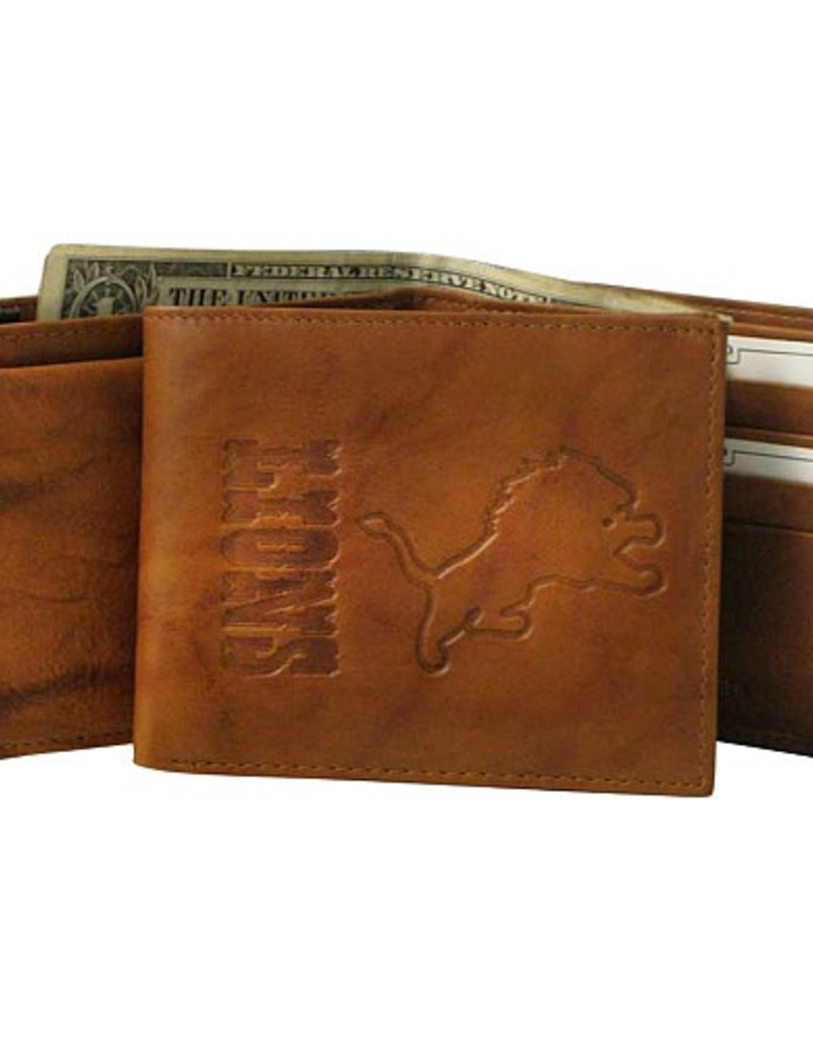 RICO INDUSTRIES Detriot Lions Genuine Leather Vintage Billfold Wallet