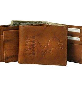 RICO INDUSTRIES Detriot Lions Genuine Leather Vintage Billfold Wallet