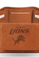 RICO INDUSTRIES Detriot Lions Genuine Leather Vintage Trifold Wallet
