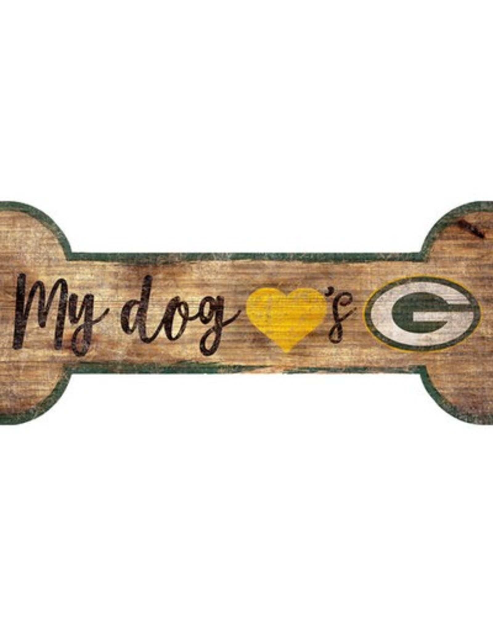 FAN CREATIONS Green Bay Packers Dog Bone Wood Sign