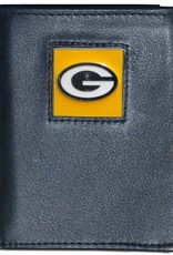 Green Bay Packers Executive Black Leather Trifold Wallet