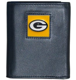 SISKIYOU GIFTS Green Bay Packers Executive Black Leather Trifold Wallet