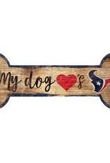 FAN CREATIONS Houston Texans Dog Bone Wood Sign