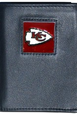 SISKIYOU GIFTS Kansas City Chiefs Executive Black Leather Trifold Wallet