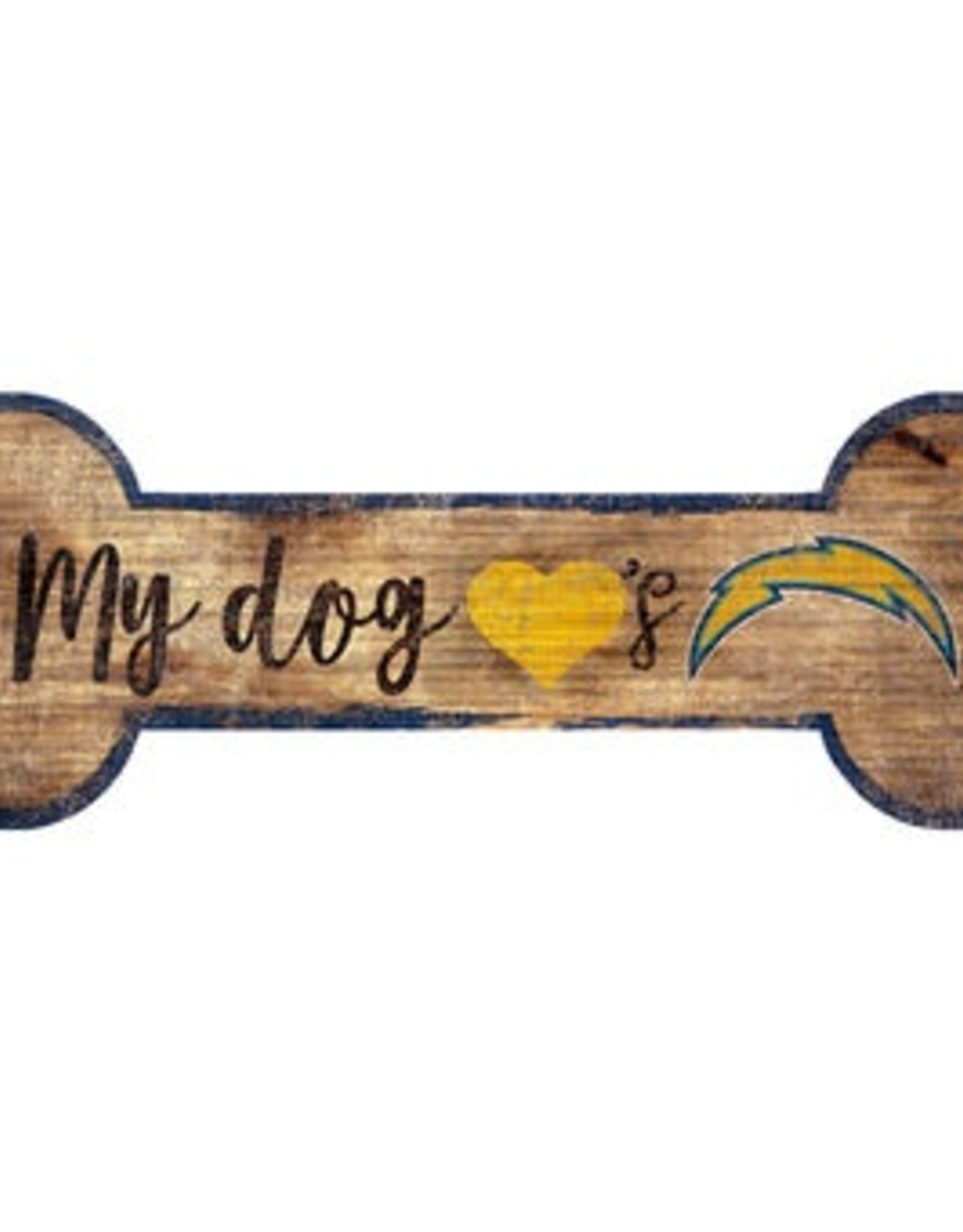 FAN CREATIONS Los Angeles Chargers Dog Bone Wood Sign