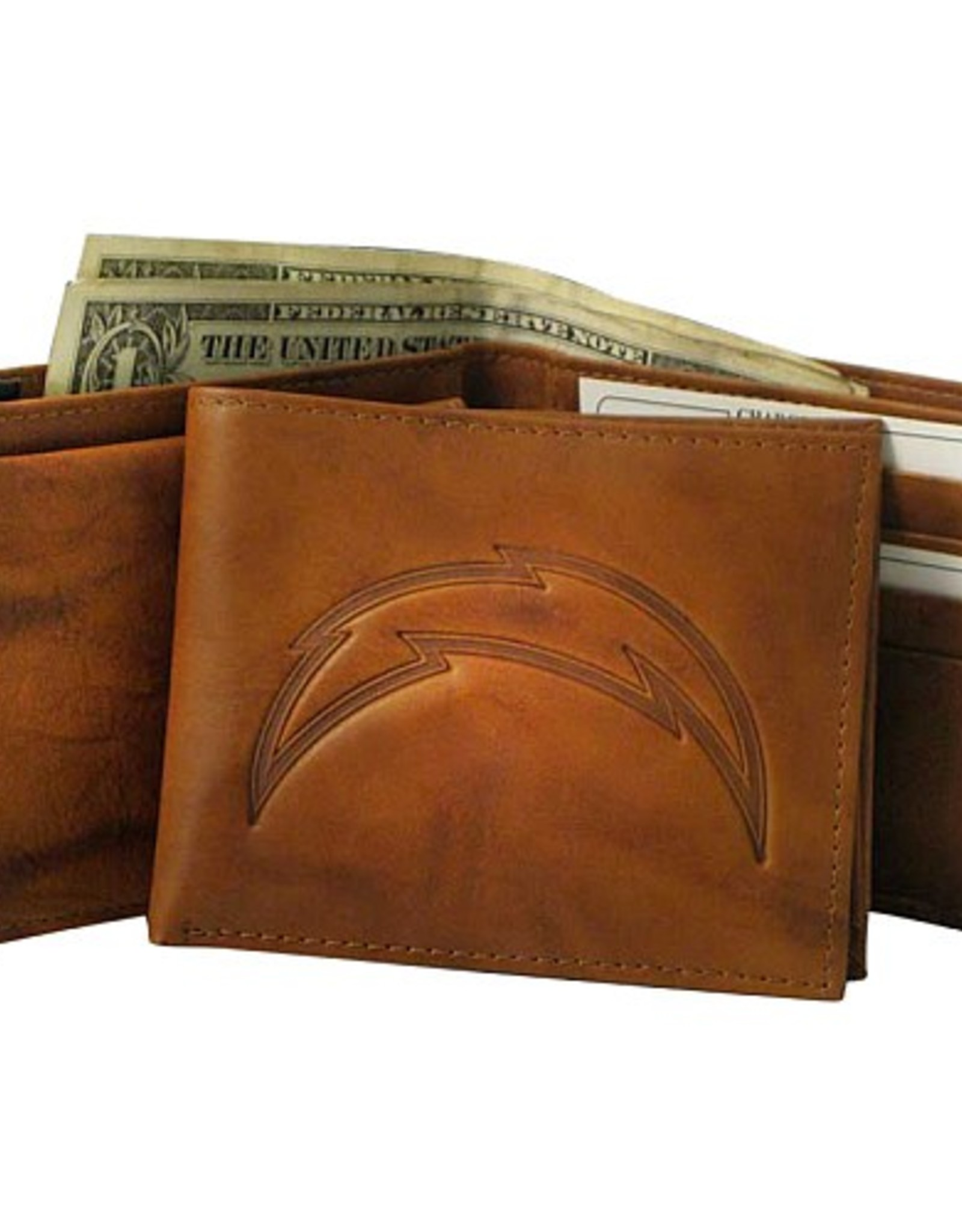 RICO INDUSTRIES Los Angeles Chargers Genuine Leather Vintage Billfold Wallet