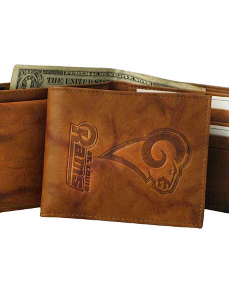 Los Angeles Rams RETRO LOGO Wallet Premium Black LEATHER BillFold Embroidered Bifold Football
