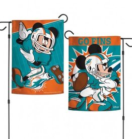 "WINCRAFT Miami Dolphins Disney Mickey Mouse 12.5"" x 18"" Garden Flag"