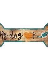 FAN CREATIONS Miami Dolphins Dog Bone Wood Sign