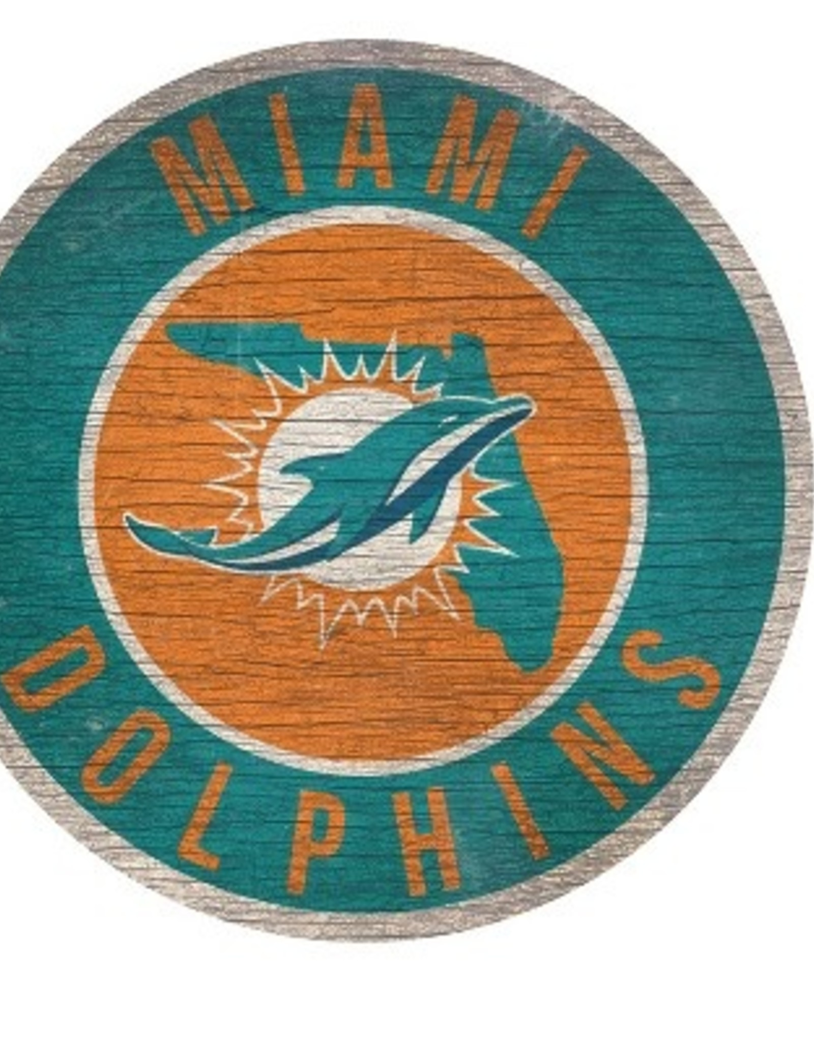 FAN CREATIONS Miami Dolphins Round State Sign