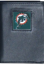 SISKIYOU GIFTS Miami Dolphins Executive Black Leather Trifold Wallet