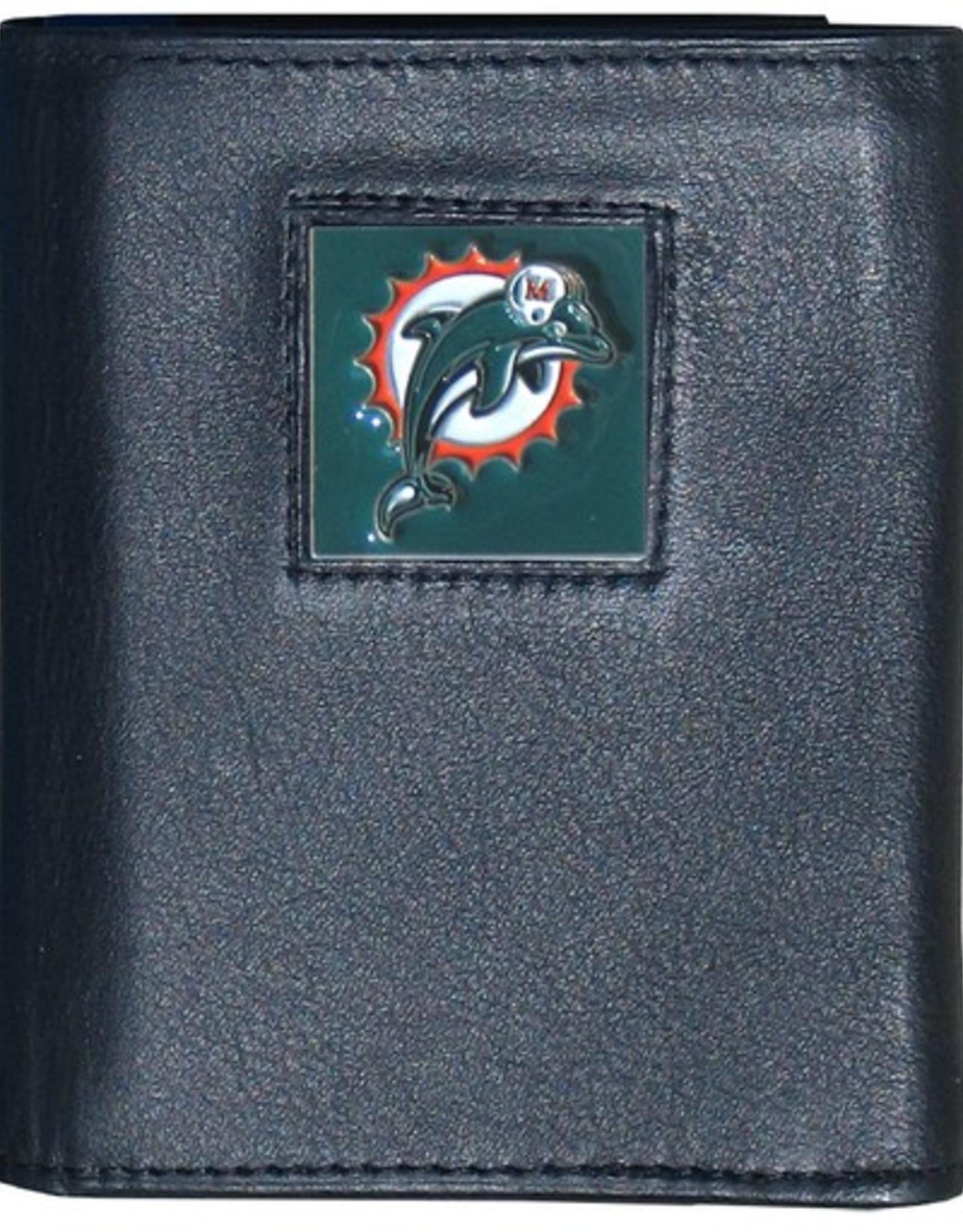 Miami Dolphins Executive Black Leather Trifold Wallet