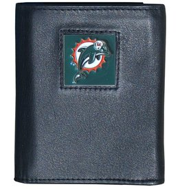 Miami Dolphins Executive Black Leather Trifold Wallet