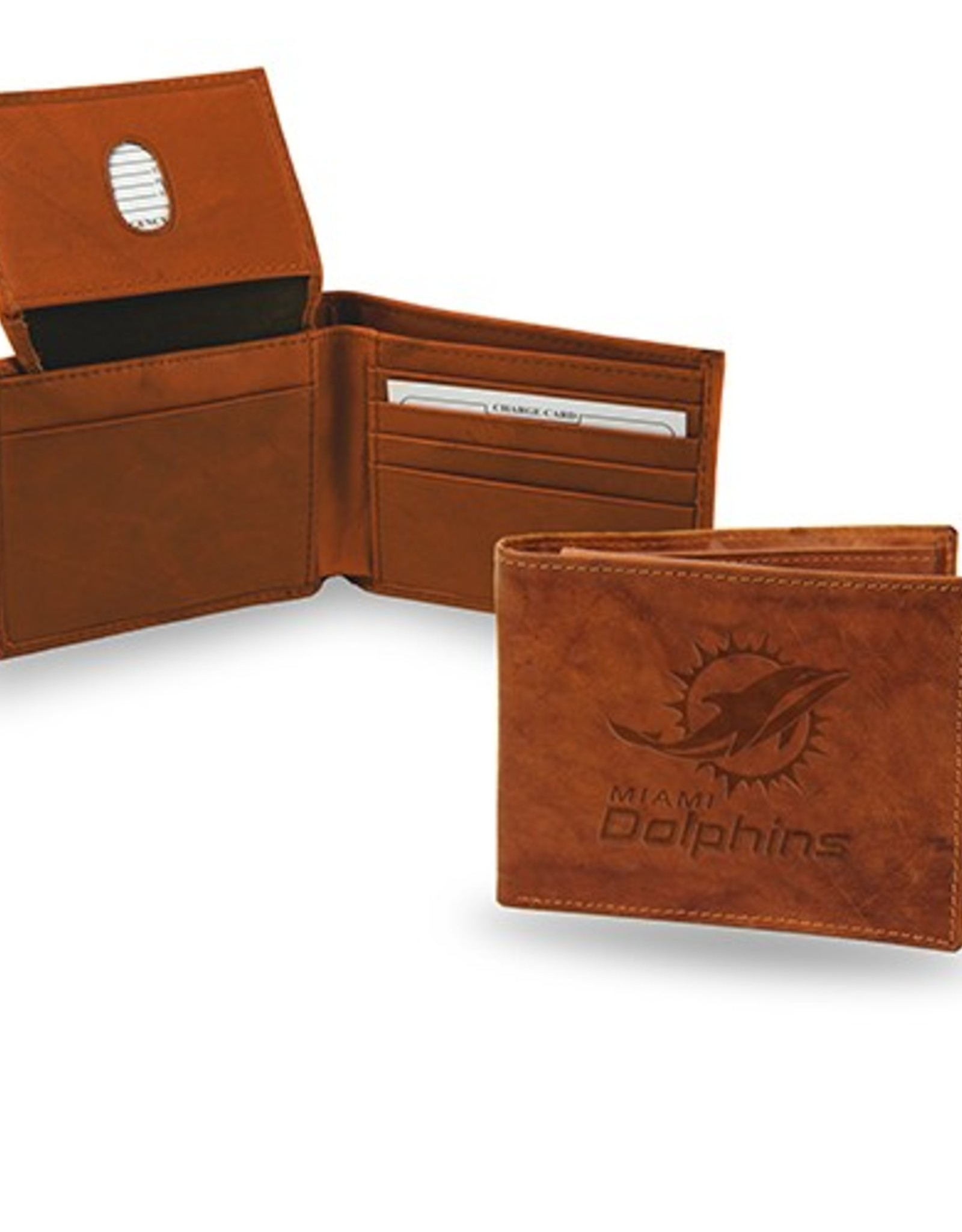 RICO INDUSTRIES Miami Dolphins Genuine Leather Vintage Billfold Wallet