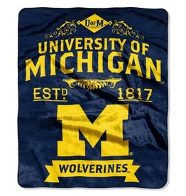 "Michigan Wolverines 50in x 60in NCAA Royal Plush ""Label"" Raschel Throw"