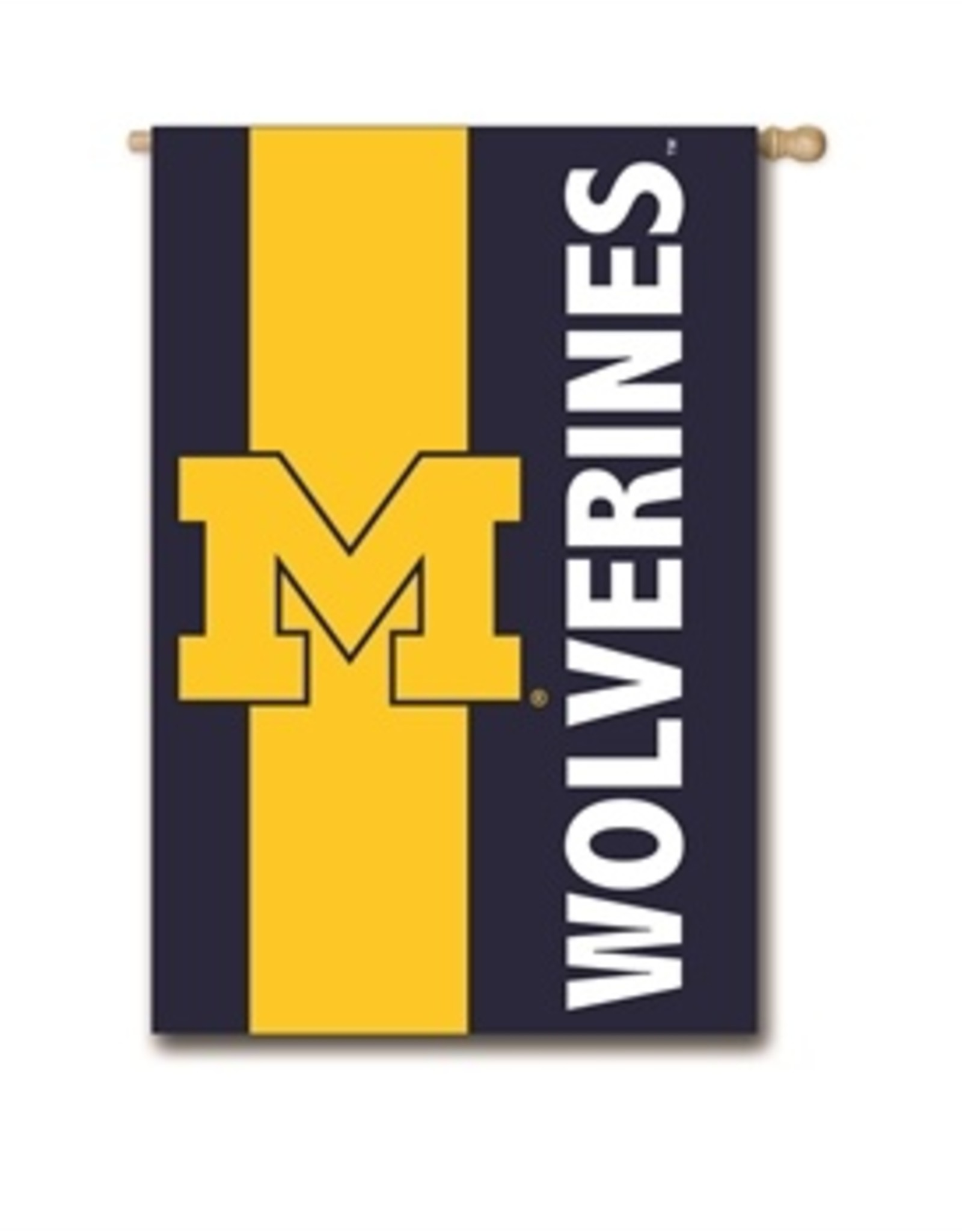 """EVERGREEN Michigan Wolverines 28"""" x 44"""" Striped House Flag"""