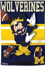"""WINCRAFT Michigan Wolverines Disney Mickey Mouse 28"""" x 40"""" House Flag"""