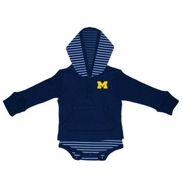 TWO FEET AHEAD Michigan Wolverines Striped Hooded Creeper