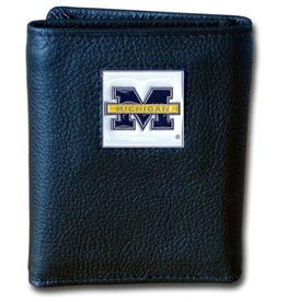 Michigan Wolverines Executive Black Leather Trifold Wallet