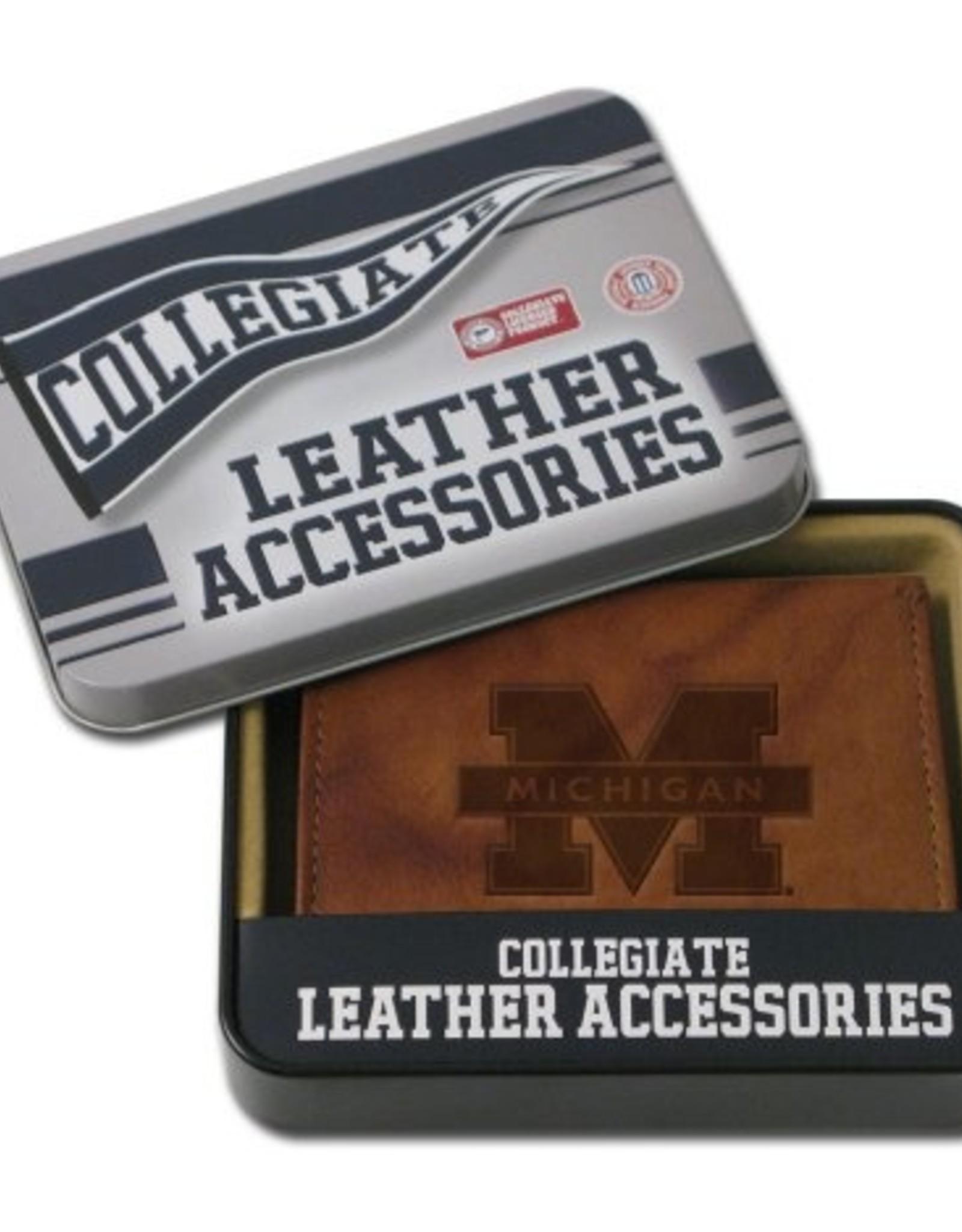 RICO INDUSTRIES Michigan Wolverines Genuine Leather Vintage Billfold Wallet