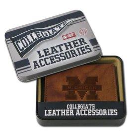 Michigan Wolverines Genuine Leather Vintage Billfold Wallet