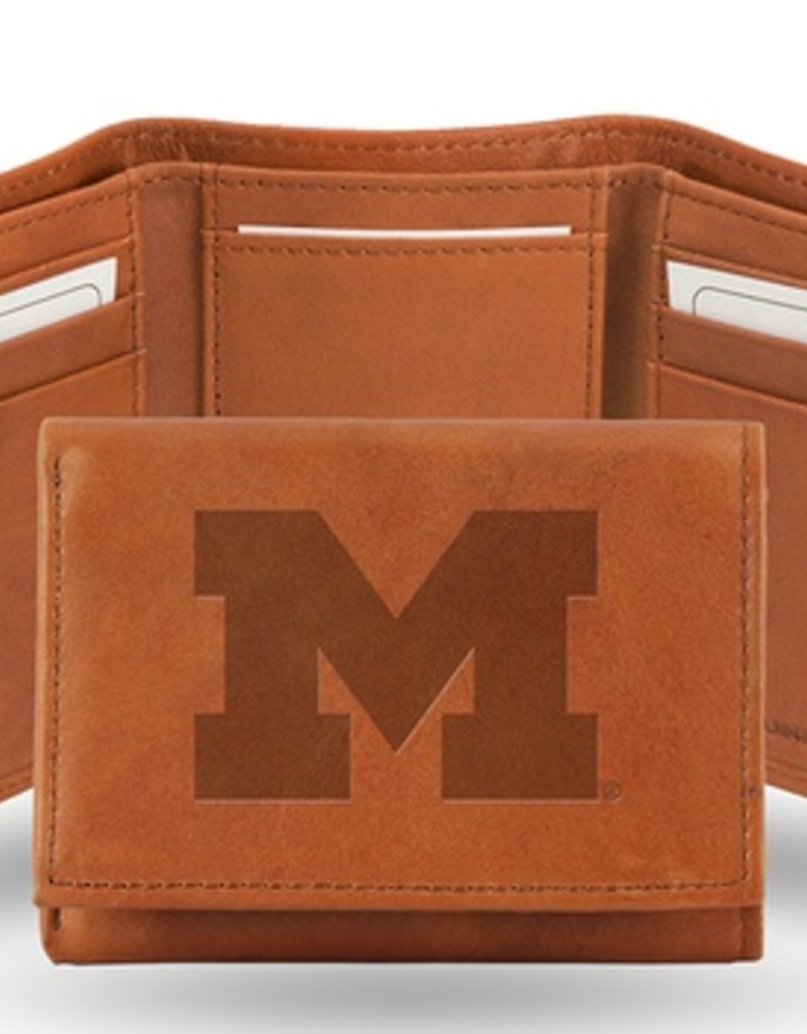 RICO INDUSTRIES Michigan Wolverines Genuine Leather Vintage Trifold Wallet