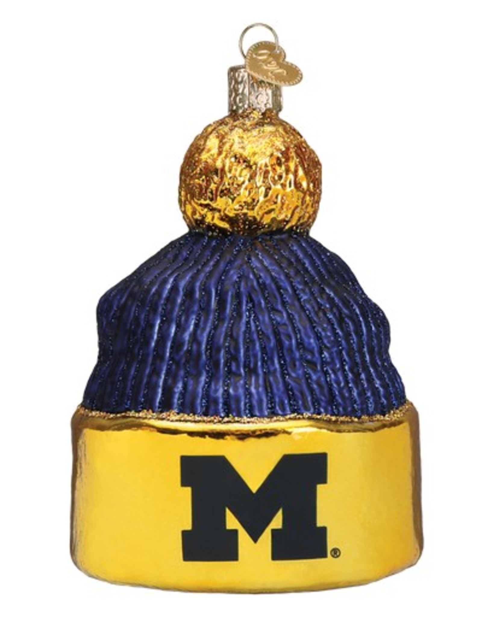OLD WORLD CHRISTMAS Michigan Wolverines Beanie Ornament