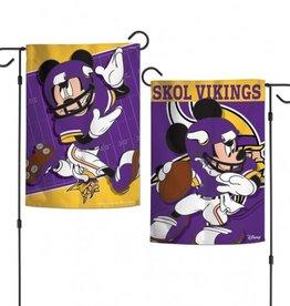 "WINCRAFT Minnesota Vikings Disney Mickey Mouse 12.5"" x 18"" Garden Flag"