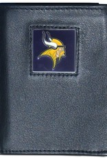 SISKIYOU GIFTS Minnesota Vikings Executive Black Leather Trifold Wallet