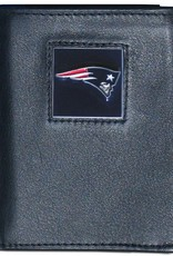 New England Patriots Executive Black Leather Trifold Wallet