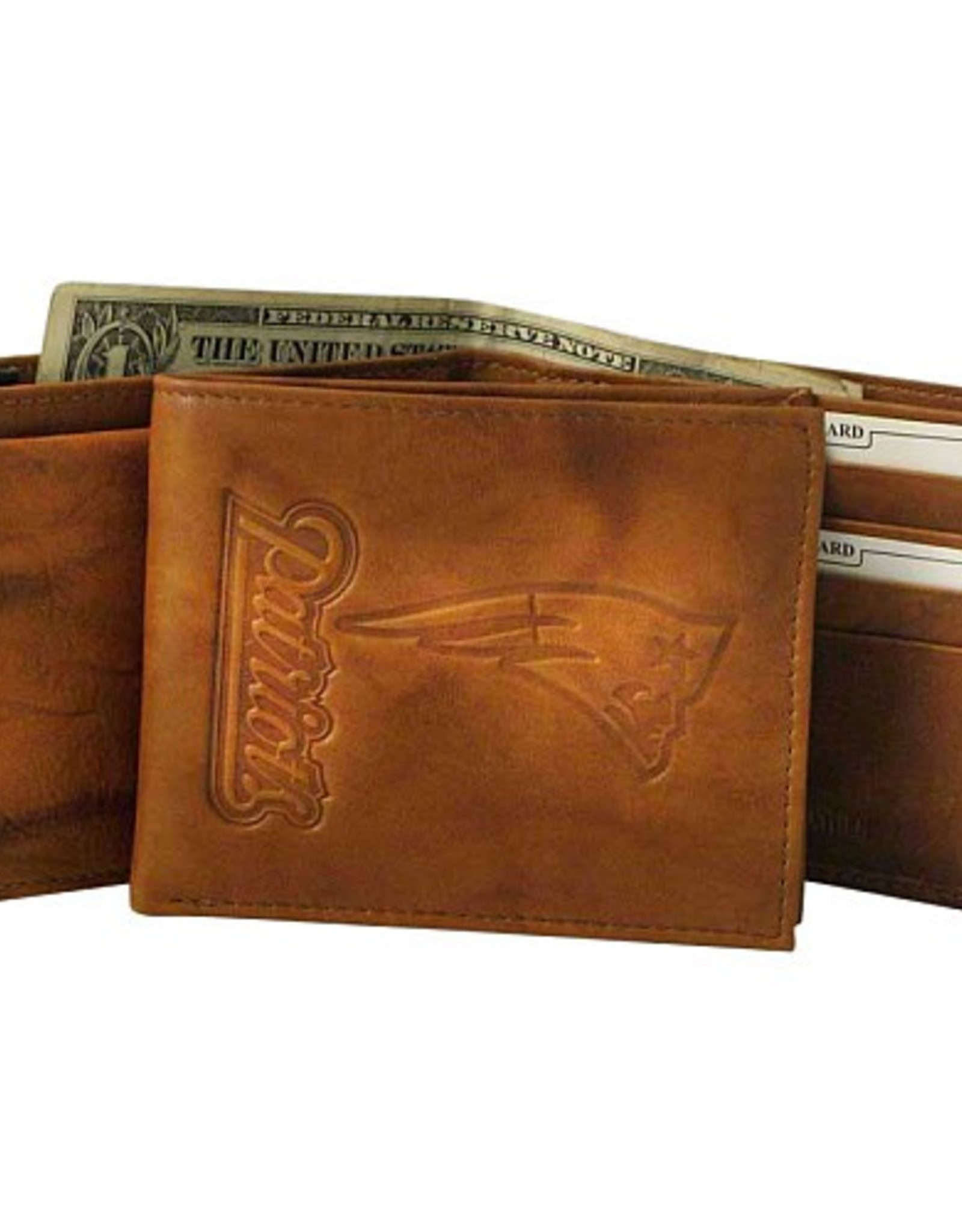 RICO INDUSTRIES New England Patriots Genuine Leather Vintage Billfold Wallet
