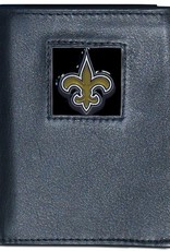 SISKIYOU GIFTS New Orleans Saints Executive Black Leather Trifold Wallet