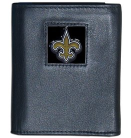 New Orleans Saints Executive Black Leather Trifold Wallet