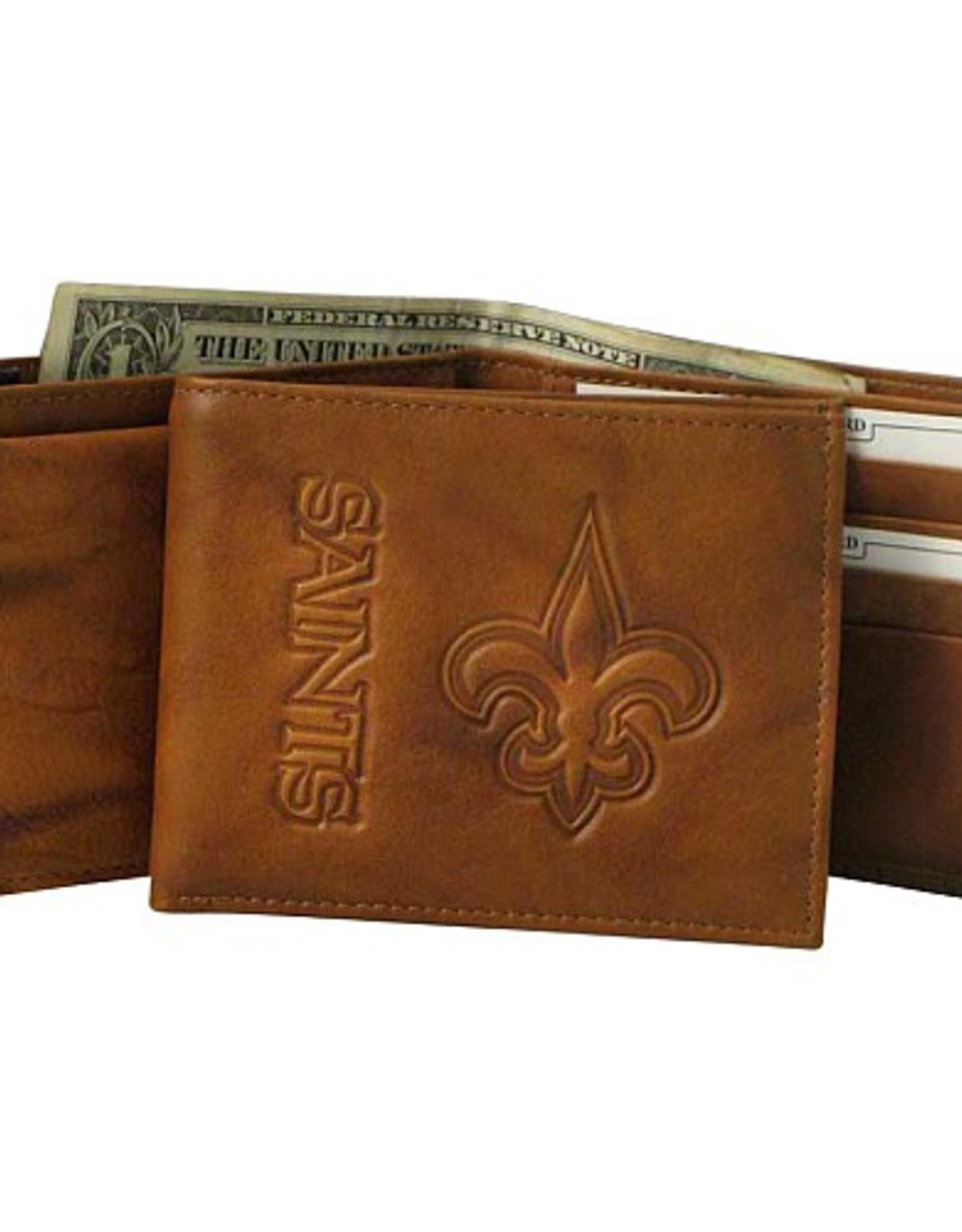 RICO INDUSTRIES New Orleans Saints Genuine Leather Vintage Billfold Wallet