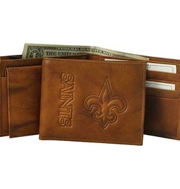 RICO INDUSTRIES New Orleans Saints Genuine Leather Vintage Billfold Wallet