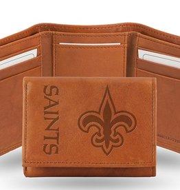 RICO INDUSTRIES New Orleans Saints Genuine Leather Vintage Trifold Wallet