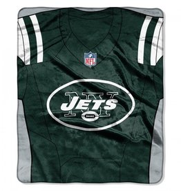 "New York Jets 50in x 60in NFL ""Jersey"" Royal Plush Raschel Throw"